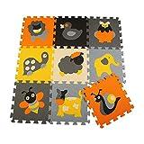 LINSAM パズルマット ジョイントマット ジョイント子供 やわらかパズルマット 子供用マット ジョイントマット キッズスペース 子供が大好きのプレゼント 出産祝い 誕生日ギフト カラーマット アンチスリップマット 9枚セット ライオン動物のパターン子供のパズルマット 可愛い 安心のノンホル(ライオンパターン) JS-P011