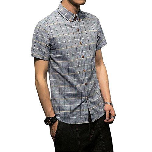Veravant シャツ メンズ 半袖 ギンガム チェック柄 クールビジ ボタンダウン 折り襟 全5色 S-3XL