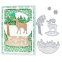 スクラップブック 【クリスマスの鹿】カード作り道具 ダイカットテンプレート 年賀状 カード作り 工芸 手作り DIY用具 シルバー-hamulekfae