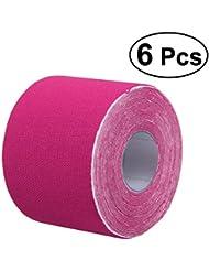 ROSENICE アスレチックテープ6本膝の肩の筋肉サポート(ピンク)のためのフィジオ治療援助