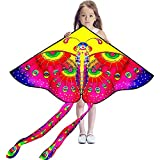 Hengda Kite So Beautiful Peacock Tail Butterfly Kite Single Line Kite Incudes 30m String and Handle