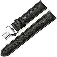 iStrap 18mm 時計ベルト 本革 防水 時計バンド 腕時計ベルト dバックル 18mm セイコープッシュDバックル ブラック 腕時計 イストラップ 鰐皮紋様 観音開き尾錠金具
