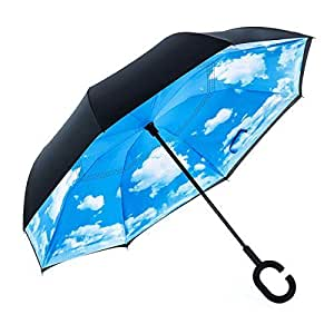 Hiveseen 逆さ傘 逆折り式傘 晴雨兼用 長傘 手離れC型手元 二重構造 撥水加工 UVカット 遮光遮熱 ビジネス用車用 自立式 男女兼用 (青い空)