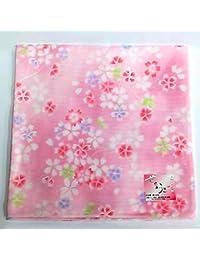 和柄ガーゼハンカチ【さくらピンク】43×43cm 日本製