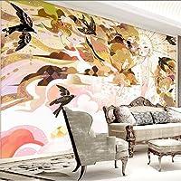 Xueshao 北欧のパーソナライズされた手描きの美しい水彩画スタイルのテレビの背景の壁紙大壁画の壁紙-120X100Cm