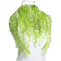 HITSAN INCORPORATION MYPF-Fashion Tassel Lace Bare Floral Print Scarf Mantilla Holder Cloth Gauze Green