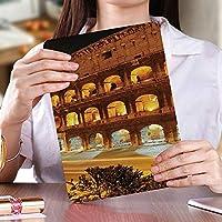 ipad mini4兼用ケース 超薄型 超軽量 TPU ソフト スマートカバー 2つ折り スタンド [オート スリープ/スリープ解除] (mini4)コロッセオの夜景ローマヨーロッパの都市遺産記念碑風景