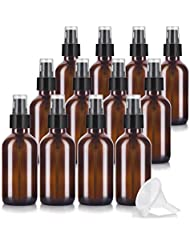 4 oz Amber Glass Boston Round Treatment Pump Bottle (12 pack) + Funnel and Labels for essential oils, aromatherapy...