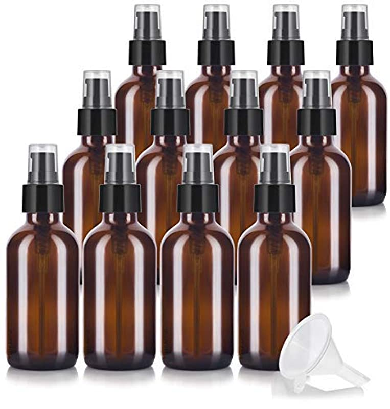 考慮セッティングウェイド4 oz Amber Glass Boston Round Treatment Pump Bottle (12 pack) + Funnel and Labels for essential oils, aromatherapy...