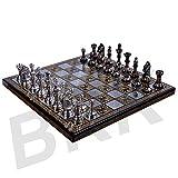 アンティークチェスボードセット真鍮Collectibleゲームボードハンドメイド大きなピース10x 10インチ
