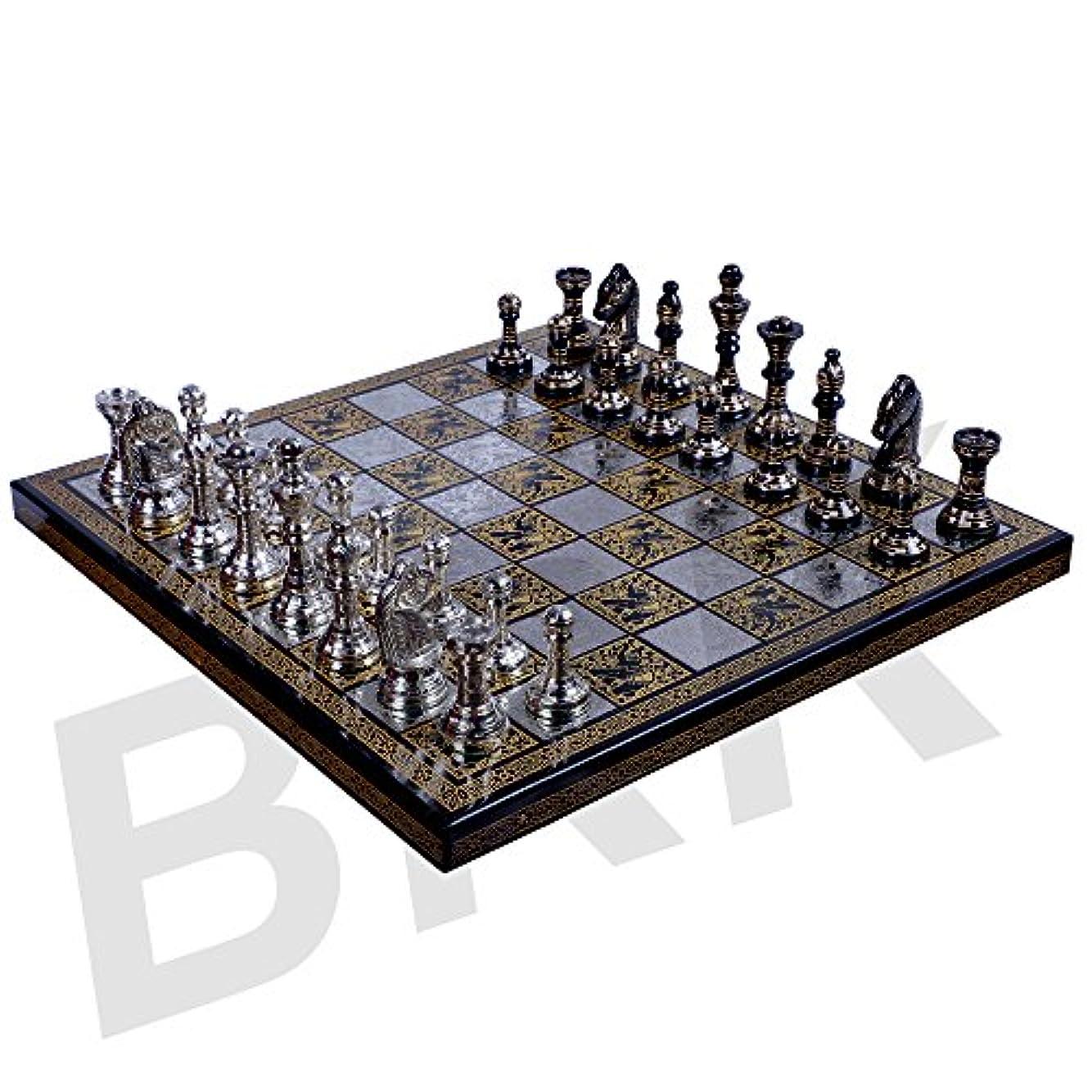 オーストラリア人望ましいリファインアンティークチェスボードセット真鍮Collectibleゲームボードハンドメイド大きなピース10 x 10インチ