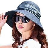 (シッギ)Siggi 麦わら帽子 ストローハット レディース 夏 サイズ調整 つば広 uvカット ゴルフ 釣り メッシュ 折りたたみ 女優帽子 ブルー