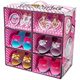 Shoes and Jewelry Boutique - Little Girl Princess Play Gift Set with 4 Pairs of Shoes, Collection of Earrings, Bracelets Ring