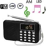 BeiLan AM FMラジオ ポータブルラジオ USB充電式 多機能 小型 ポケットラジオ LEDライト搭載 高感度 USB/TFカードに対応 操作簡単(日本語説明書付き)