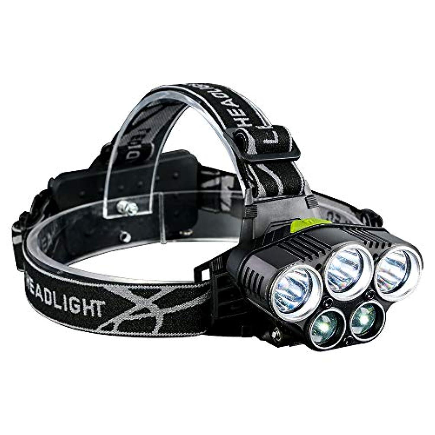 農学バンジージャンプ職人LEDヘッドライト FLYYUK 超高輝度 5点灯モード 90°調整可能 軽量 防水 り アウトドア作業SOSフラッシュ機能 夜釣り/山登り/キャンピング/防災