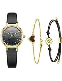 エレガンスレディースセット女性ブレスレットクォーツカジュアル腕時計-MAMONA 金色のステンレスケースと本革ベルト3876LBKTS