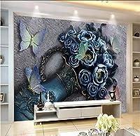 Lcymt 3D花蝶レリーフ壁装飾絵画プロの制作壁画壁紙カスタムポスター写真壁-350X250Cm