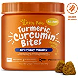 Zesty Paws Turmeric Curcumin with Bioperine for Dogs - Dog Joint Supplement with Coconut Oil & Black Pepper Extract - Soft Chews for Canine Immune System Support - Bacon Flavor - 90 Count