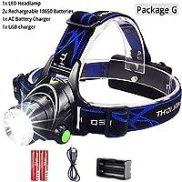 ヘッドランプ、 ヘッドランプは、LEDヘッドランプL2 /釣り狩猟のための18650バッテリーによってT6ズーム可能なヘッドライトヘッドトーチ懐中電灯ヘッドランプを6000lumens キャンプ、ハイキング、アウトドア用 (Body Color : L2 8000 Lumen, Emitting Color : Package G)