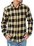JIGGYS SHOP (ジギーズショップ) チェックシャツ メンズ 長袖 腰巻 サーフ系 ネルシャツ 大きいサイズ L イエロー