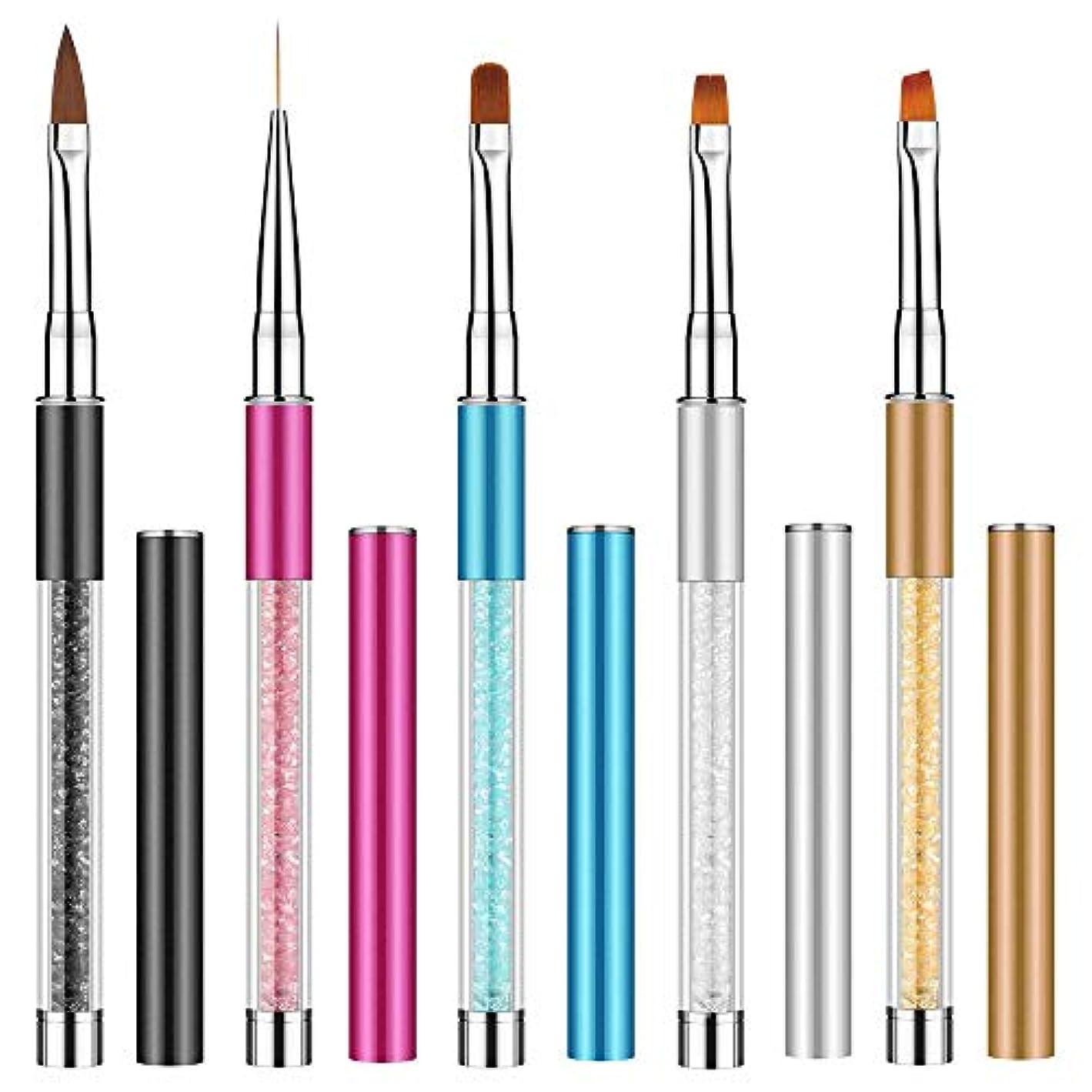 プラスチック素子嫉妬5本セッネイルアートブラシ Kalolary ネールアートペン ネールブラシセット マニキュアツールキット アクリル UV用 ネイルツール ネイル用品 キャップ付き