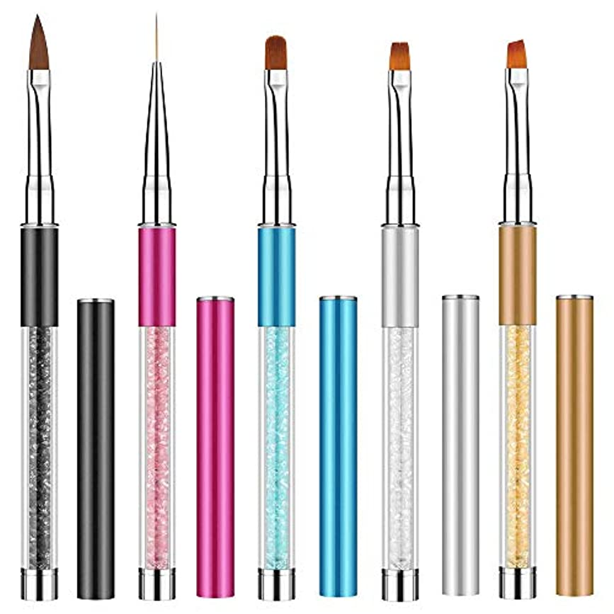 5本セッネイルアートブラシ Kalolary ネールアートペン ネールブラシセット マニキュアツールキット アクリル UV用 ネイルツール ネイル用品 キャップ付き