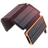 ソーラーチャージャー 20000mAh 大容量 ADDTOP モバイルバッテリー 4つのソーラーパネルと2つUSBポート 急速充電 防水 地震/災害/旅行/アウトドアなどの必携品、iphone/ipad/Android各種対応 【PSE認証済】