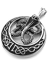[テメゴ ジュエリー]TEMEGO Jewelry メンズステンレススチールヴィンテージペンダントゴシックコブラネックレスチェーン、ブラックシルバー[インポート]
