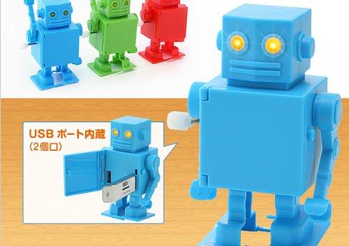 ネジ巻きで歩行する「USBハブロボット」