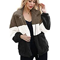 ANRABESS Women's Fashion Long Sleeve Lapel Zip Up Faux Shearling Shaggy Oversized Coat Jacket Outwear Warm Winter