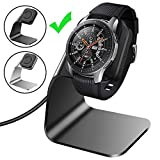CAVN Compatible with Samsung Galaxy Watch 42mm 46mm Gear S3 Charger Dock Stand, Replacement Aluminum Charging Cable Cord Station Cradle Base 4.2ft USB Accessory Compatible Galaxy Watch Smartwatch (Bla