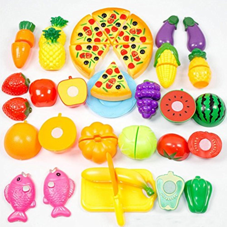 教育玩具、baomabao 24ピースキッチンディナーCutting Treats Fun Play FoodセットLiving Toys for Kids