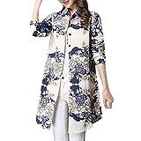 (オッサエプ)OASAP x AZBRO レディース 秋 カジュアル 質良い 長袖 ボタンダウン 花柄 プリント 綿麻 きれいめ シャツ