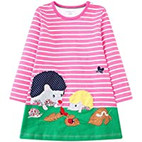 KIDSALON Little Girls Cotton Crewneck Print Animals Long Sleeve Dress