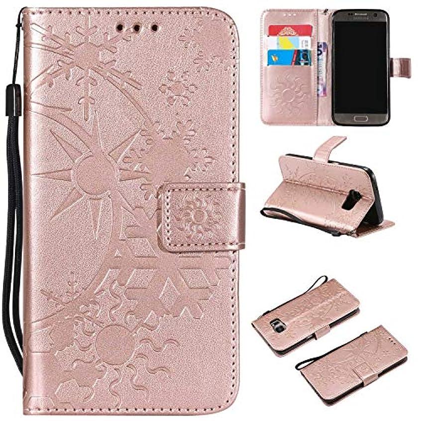 Galaxy S6 ケース CUSKING 手帳型 ケース ストラップ付き かわいい 財布 カバー カードポケット付き Samsung ギャラクシー S6 マジックアレイ ケース - ローズゴールド