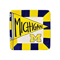 (Michigan) - Ceramic Collegiate Square Flag Plate