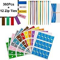 360個ケーブルタグケーブルラベルステッカー防水ケーブルマーカー印刷および手書きケーブルオーガナイザー、12ナイロンワイヤーストラップ付き12各種色