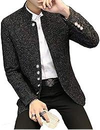 d8fdd040067fd DeBangNi スーツジャケット メンズ 春秋冬 ビジネス ラシャジャケット 長袖 無地 スタンドカラー シングル 通勤 オフィス  テーラードジャケット スリム アウター…