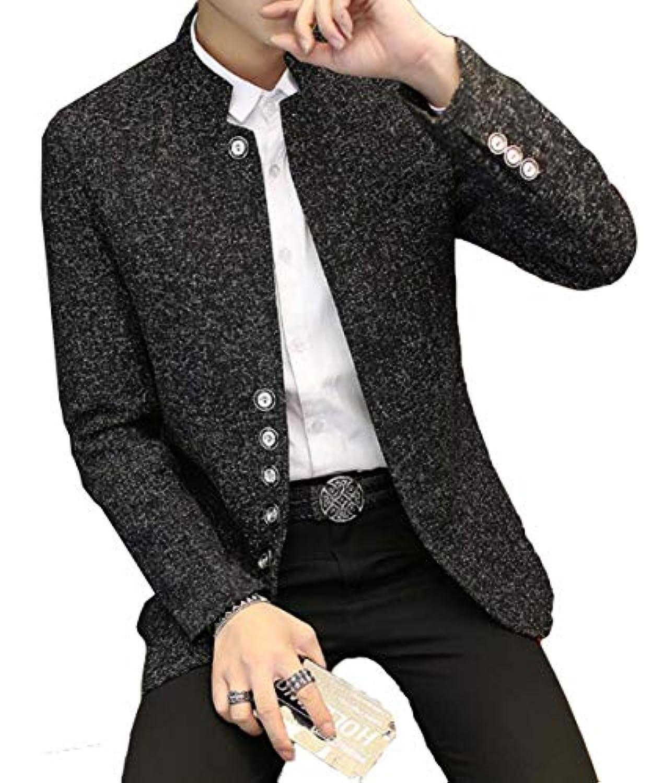 DeBangNi スーツジャケット メンズ 春秋冬 ビジネス ラシャジャケット 長袖 無地 スタンドカラー シングル 通勤 オフィス テーラードジャケット スリム アウター カジュアル フォーマル ブレザー 大きいサイズ