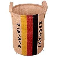 (BERUKO)おしゃれ収納 円形 バスケット 麻 ジュート インテリア 小物 生活雑貨 おむつ おもちゃ 収納 (5 GERMANY)