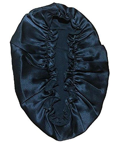 シルク 100% ナイトキャップ 美髪 のための お休み キャップ 就寝 用 帽子 (ブラック)