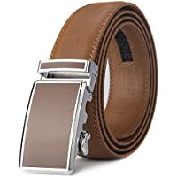 """Xhtang Men's Solid Buckle with Automatic Ratchet Leather Belt 35mm Wide 1 3/8"""""""