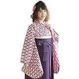 (キョウエツ) KYOETSU (はいからさん) 卒業式 二尺袖着物 矢羽根/矢絣 女性 振袖 単品 (M, 赤)