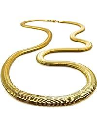 SODIAL ステンレススチールネックレス ヘリングボーンヘビヘビチェーン ゴールドチェーンリンクパンクロック メンズ