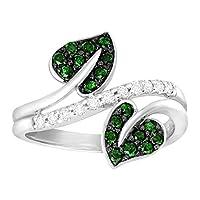 1/ 2ctグリーン&ホワイトダイヤモンド葉リング10Kホワイトゴールド グリーン
