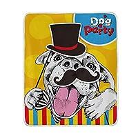 マキク(MAKIKU) ひざ掛け ブランケット ふわふわ おしゃれ 大判 毛布 暖かい 2枚合わせ 洗える かわいい 犬柄 カラフル 130x150