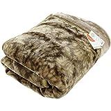 昭和西川 衿付き 2枚合わせ 毛布 シングル ブラウン ふっくらボリューム