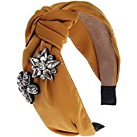 Somewhere Haute Headband for Women Satin With Crystal Appliqué (Gold)