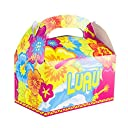 Colorful Luau Hawaii Island Tropical Treat Gift Paper Cardboard Boxes with Handles for Crafts, Candy Goodie Bags, Picnic Snacks, Birthday Party Favor, Baby Shower (12 Pack) 並行輸入品