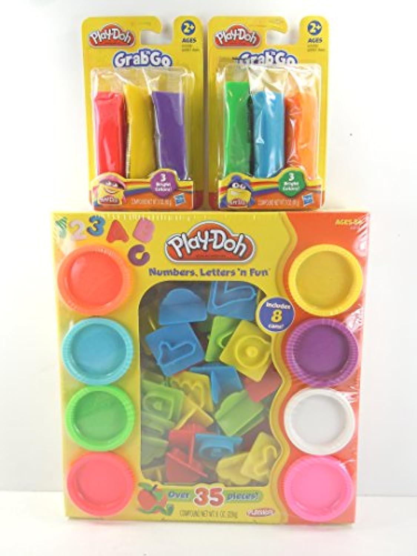 play-doh番号、文字' n Fun 35 PC。セットPlus 2ea。Play Doh Grab ' n Go 3パックバンドル
